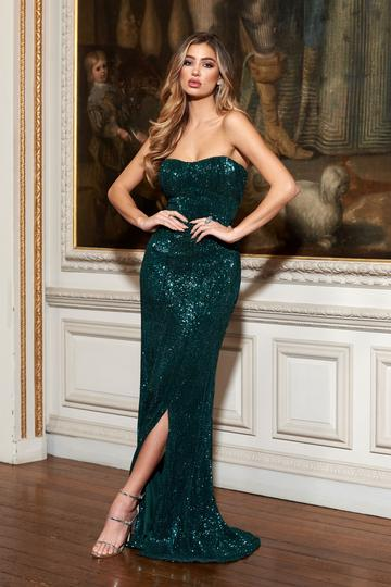 GREEN SEQUIN BANDEAU FISHTAIL MAXI DRESS