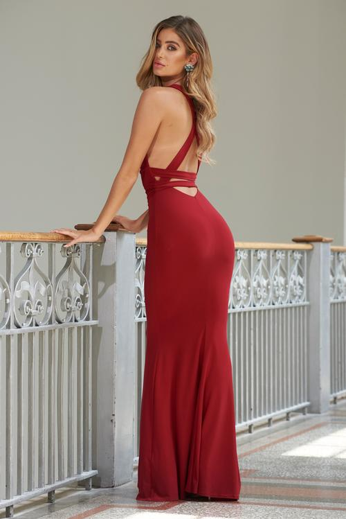 RED STRAPPY CROSS BACK FISHTAIL MAXI DRESS