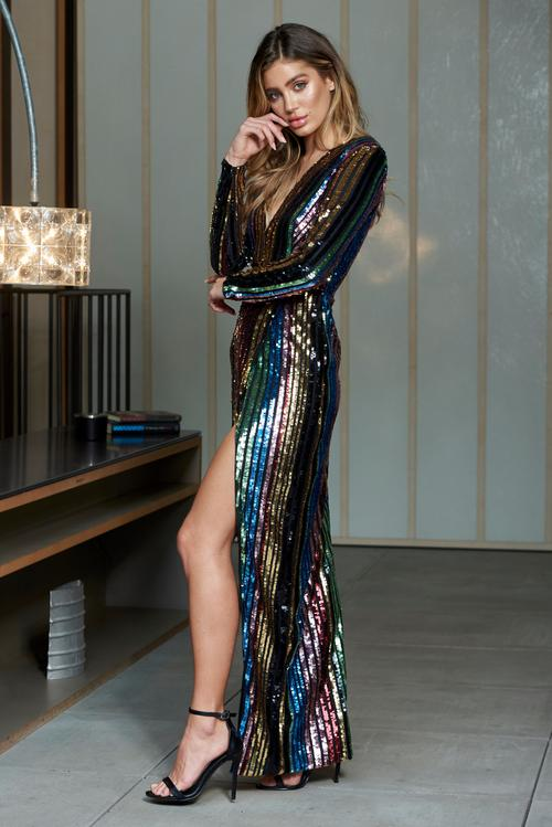 Multi Stripe Sequin Wrap Front Maxi Dress