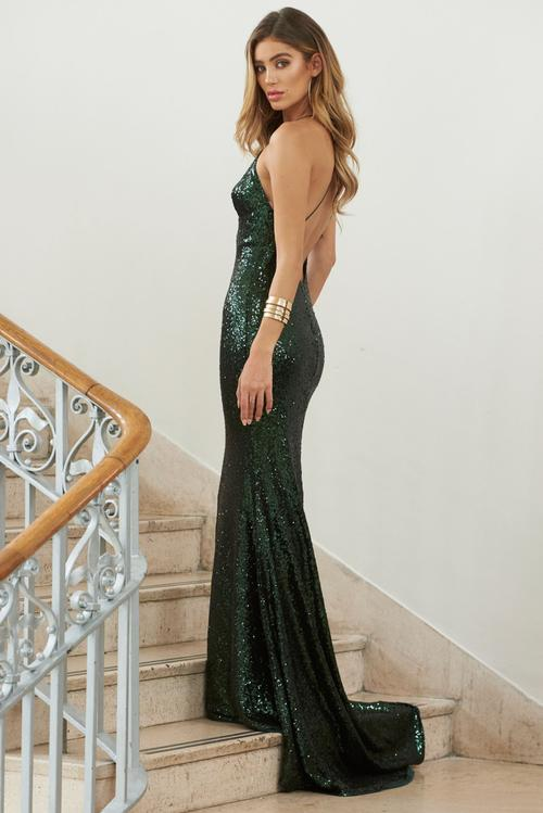 Green Sequin Cross Back Fishtail Maxi Dress