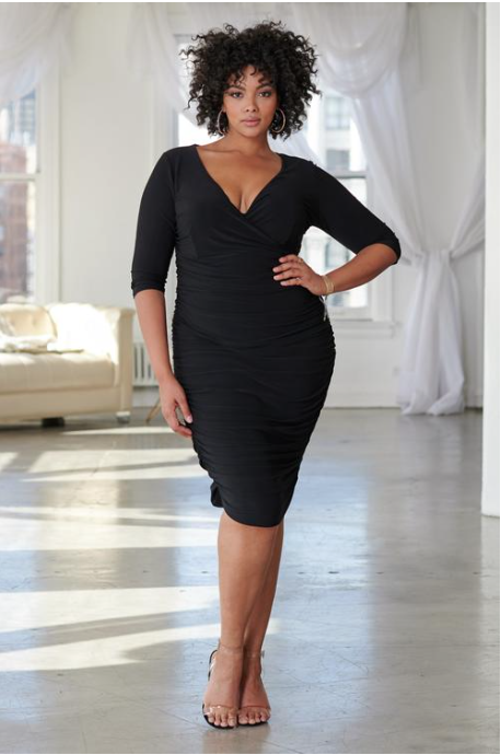 Black Ruched Plunge Midi Dress