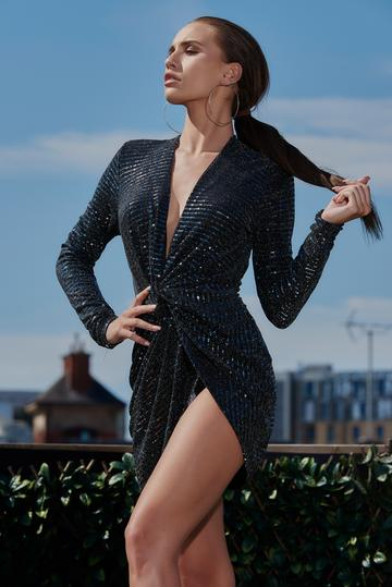 Black Knot Front Sequin Dress