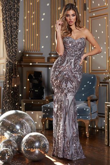 Grey Bandeau Sequins Fishtail Maxi Dress