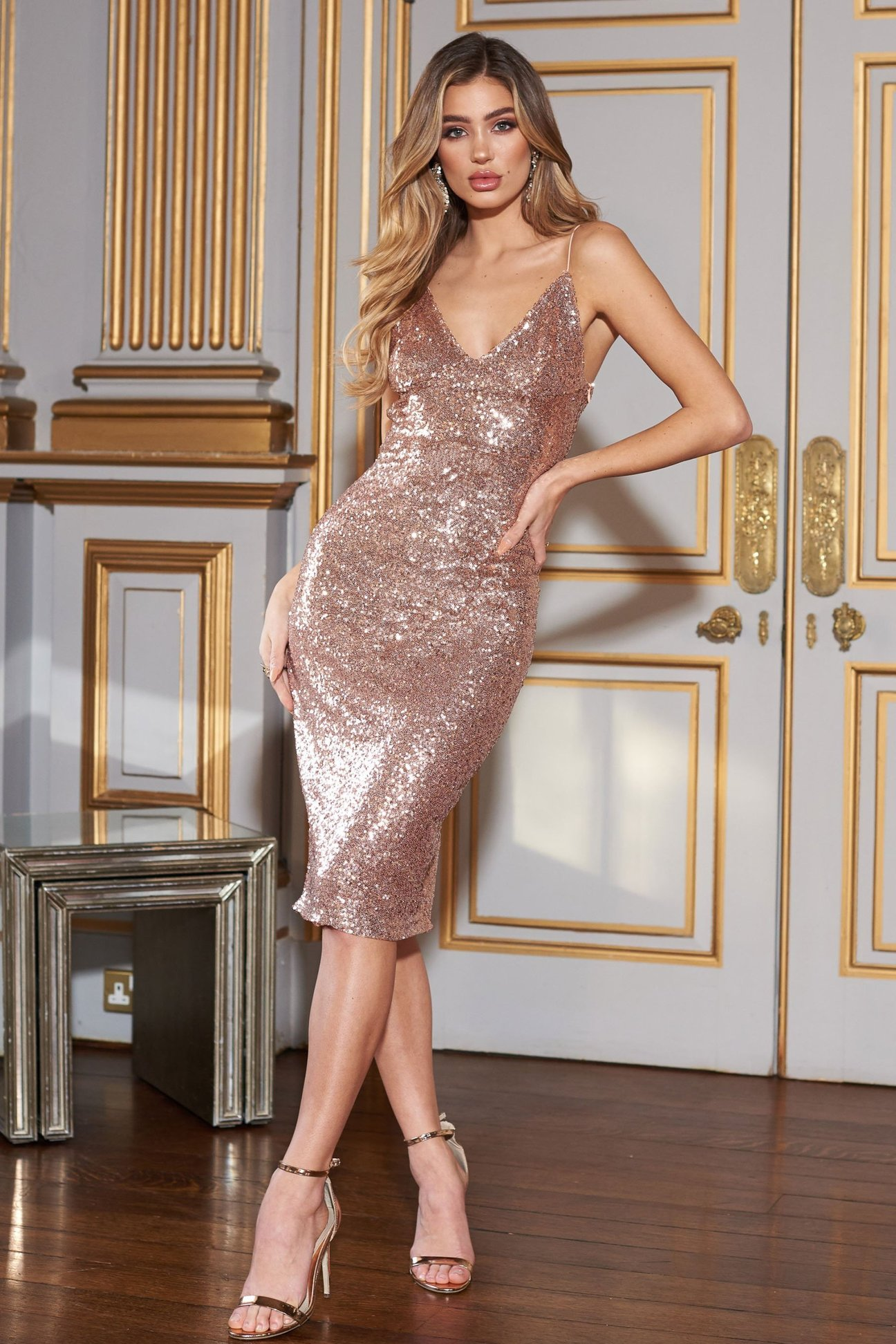 Rose Gold Sequin Midi Cami Strap Dress