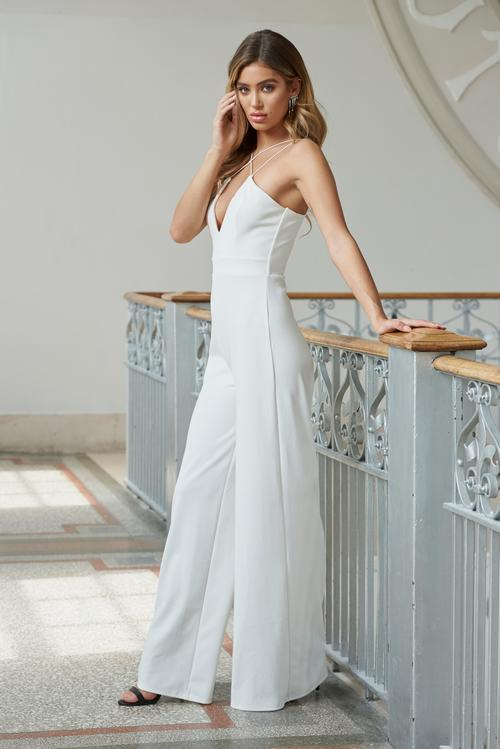 White Strappy Cross Front Wide Leg Jumpsuit