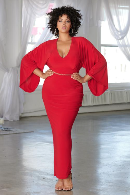 Red Plunge Sleeve Thigh Split Maxi Dress