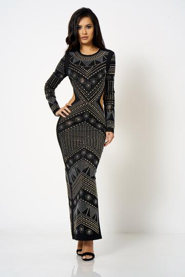 Black Embellished Cut Out Maxi Dress