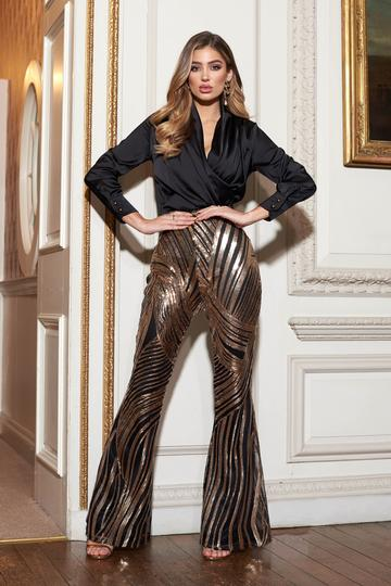 Gold Spiral Sequins Kick Flare Trousers