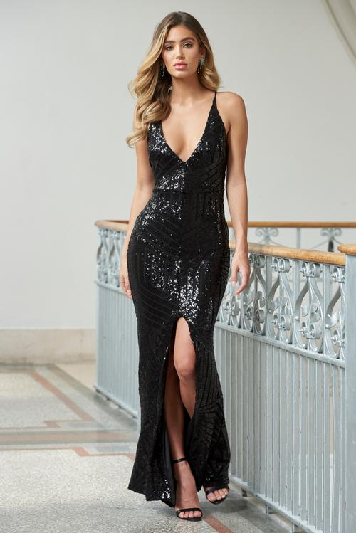 BLACK GEO SEQUIN SPLIT MAXI DRESS
