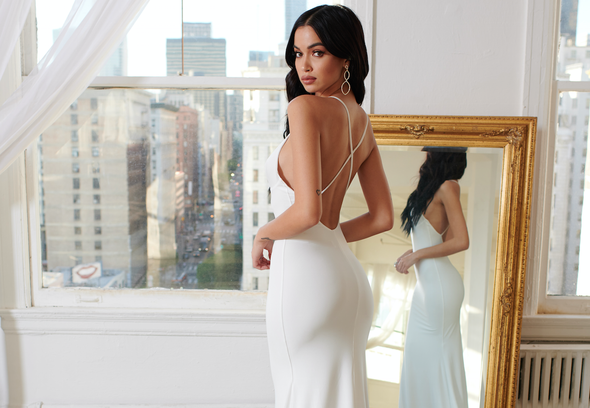 WHITE CROSS BACK FISHTAIL MAXI DRESS