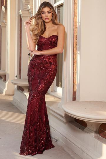 Berry Sequin Baroque Bandeau Fishtail Maxi Dress