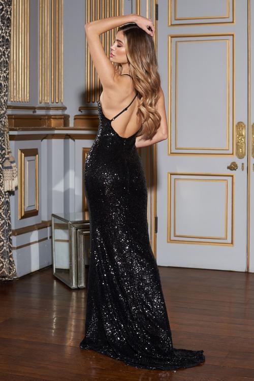 Black Sequin Cross Back Fishtail Maxi Dress