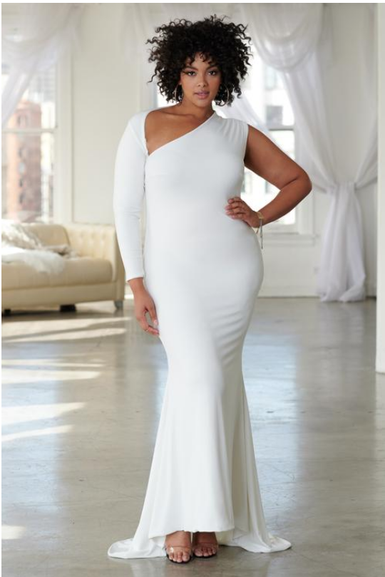 White One Shouldered Fishtail Maxi Dress