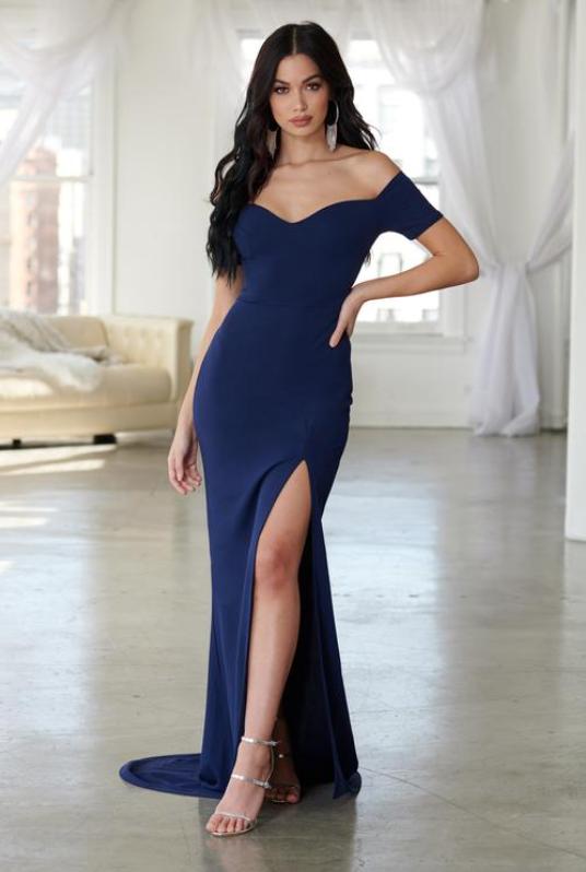 Navy Bardot Thigh Split Maxi Dress