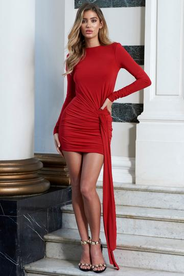 Red jersey Backless Drape Mini Dress