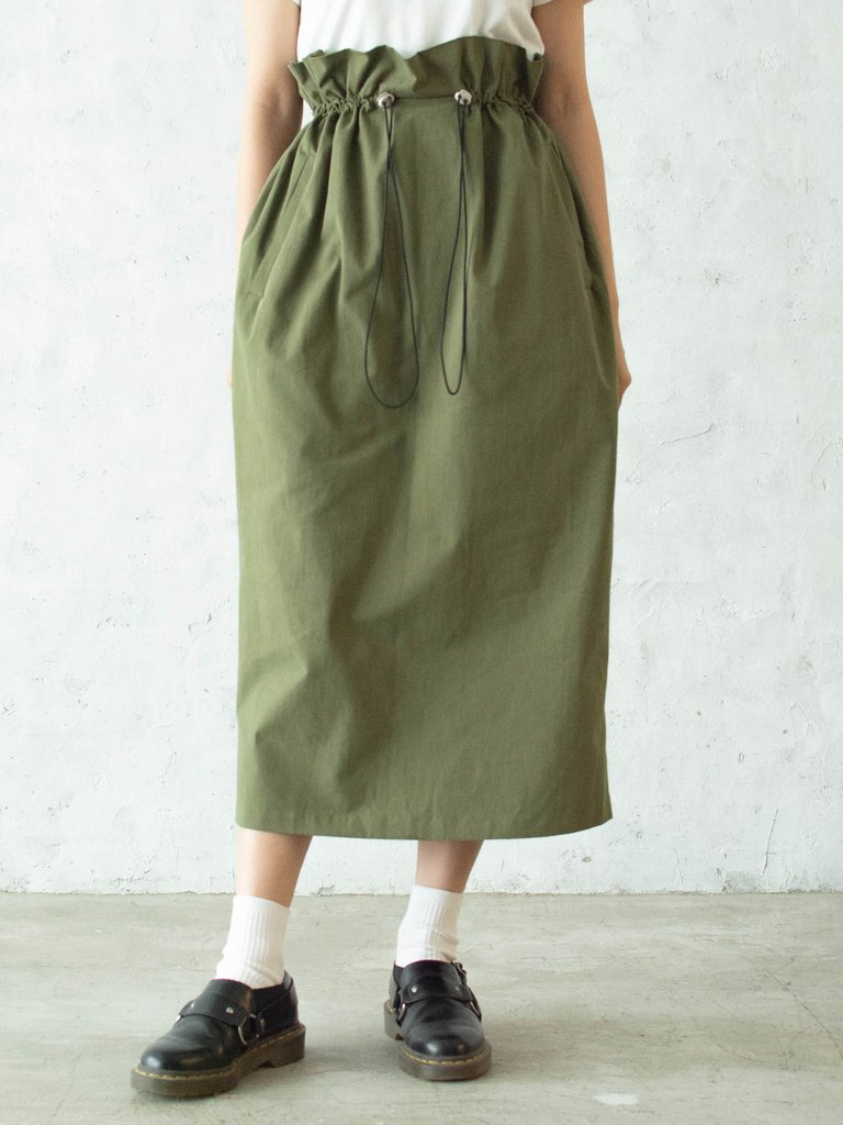 ウエスト絞りスリットスカート