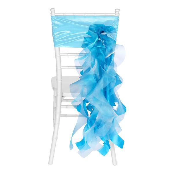 Curly Willow Chair Sash - Aqua Blue