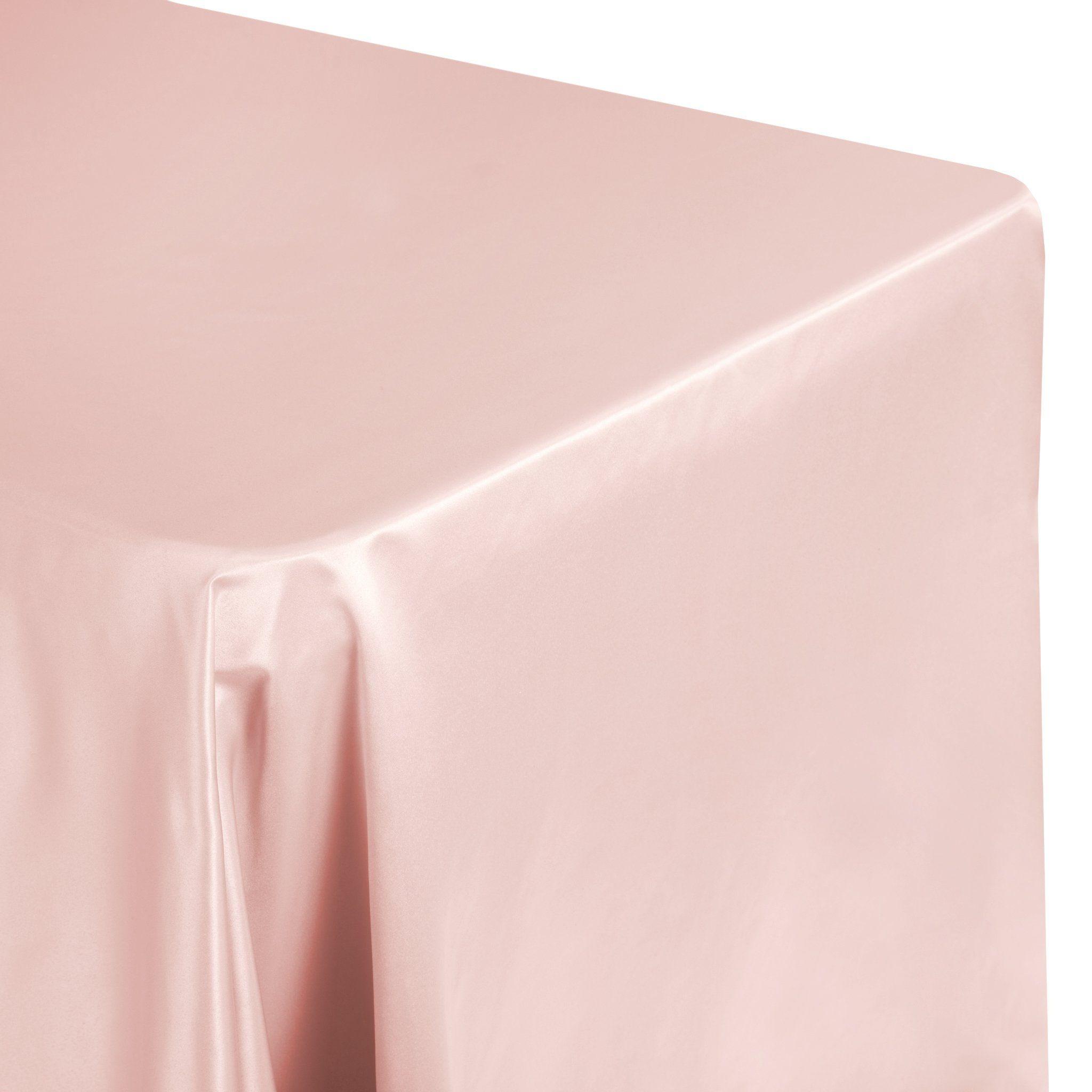 "Lamour Satin 90""x132"" Rectangular Oblong Tablecloth - Dusty Rose/Mauve"