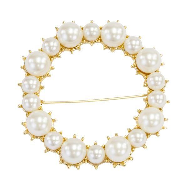 Pearl Buckle Sash Pin - Pearl White