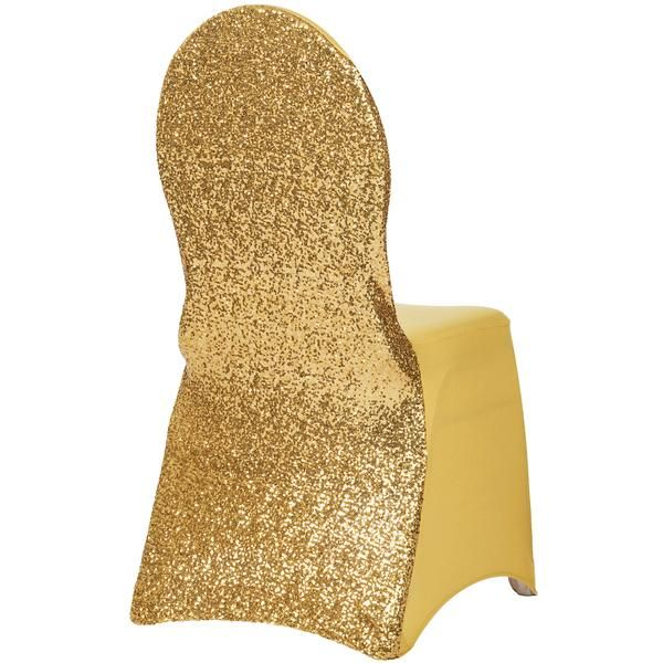Glitz Sequin Stretch Spandex Banquet Chair Cover - Gold