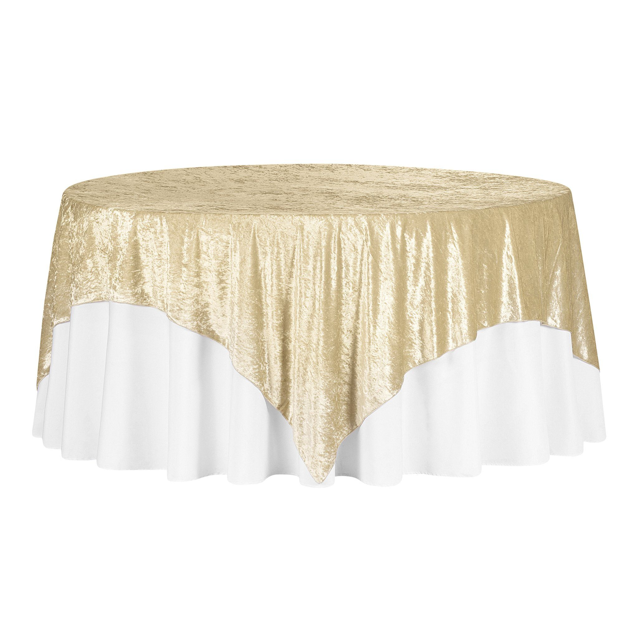"""Velvet 85""""x85"""" Square Tablecloth Table Overlay - Champagne"""