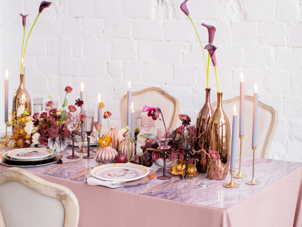 Springtime dusty rose, burgundy, and gold tablescape with place setting