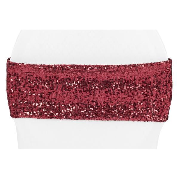Glitz Sequin Spandex Chair Band - Burgundy