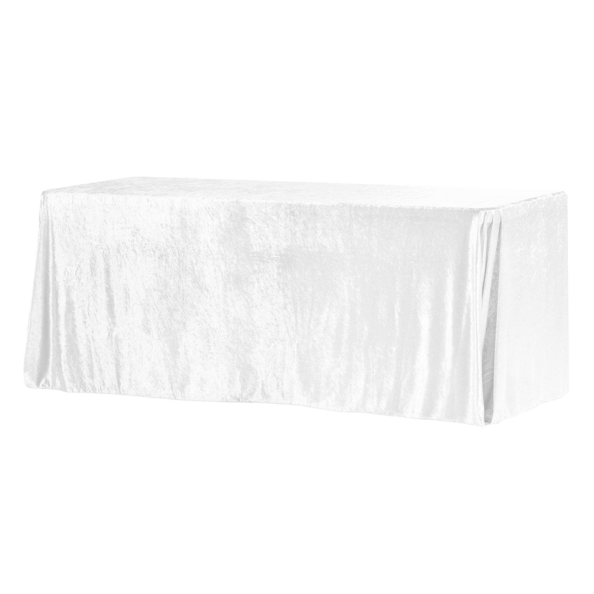 """Velvet 90""""x156"""" Rectangular Tablecloth - White"""
