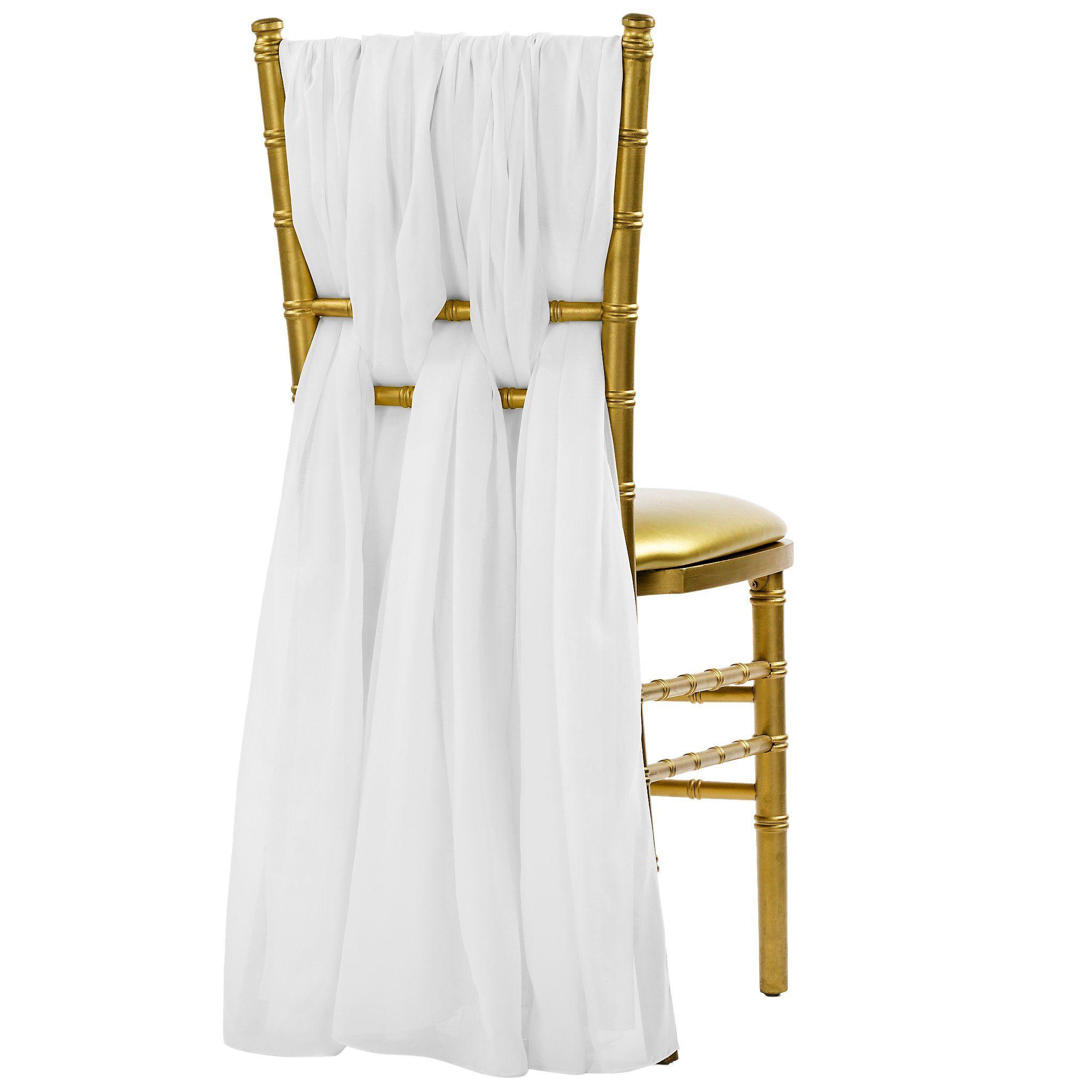 5pcs Pack of Chiffon Chair Sashes/Ties - White