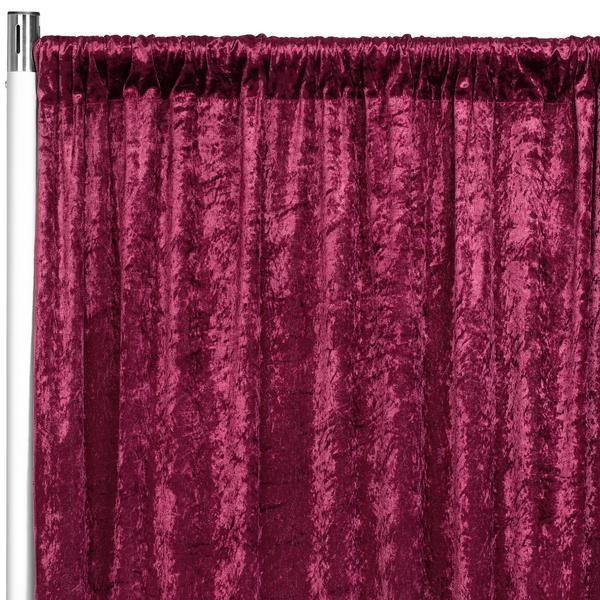 """Velvet 8ft H x 52"""" W Drape/Backdrop Curtain Panel - Burgundy"""