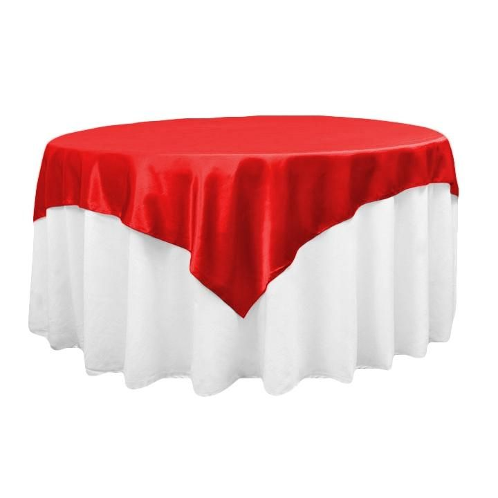 "Square 72"" Satin Table Overlay - Red"