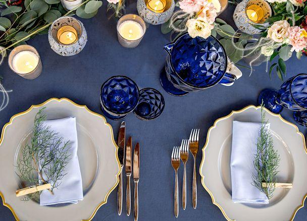 "90""x132"" Rectangular Oblong Polyester Tablecloth - Navy Blue"