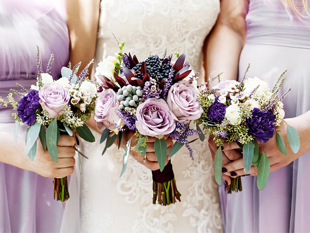 Lavender, victorian lilac, and sage green wedding bridal party and bouquets