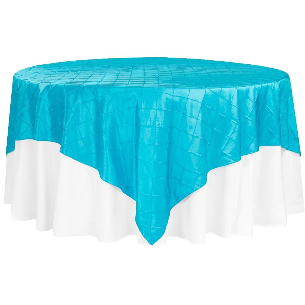 "Pintuck 90""x90"" square Table Overlay - Aqua Blue"