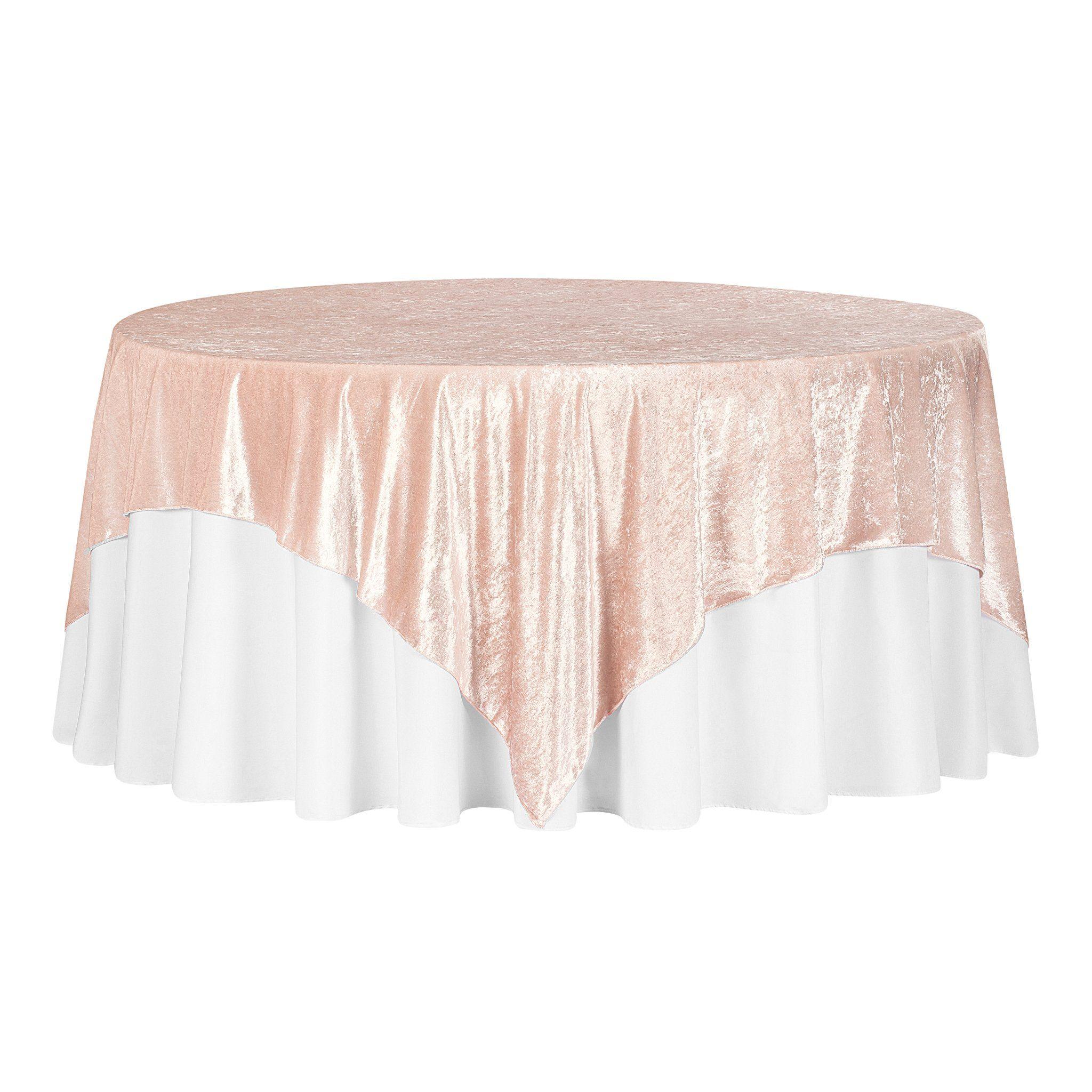 "Velvet 85""x85"" Square Tablecloth Table Overlay - Blush/Rose Gold"