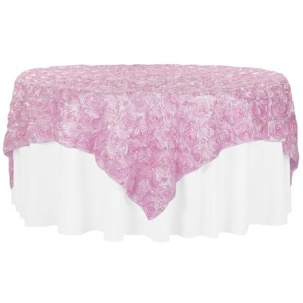 """Rosette Satin Table Overlay Topper 85""""x85"""" - Medium Pink"""