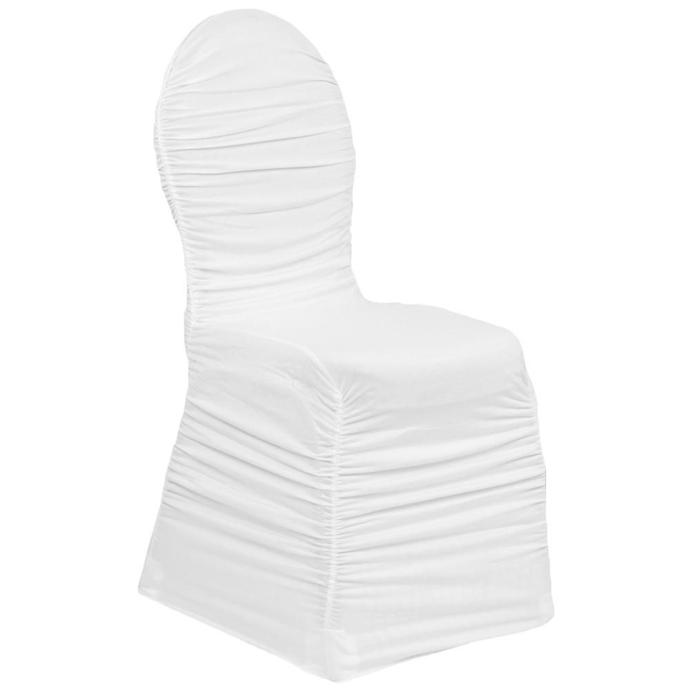 Ruched Fashion Spandex Banquet Chair Cover - White