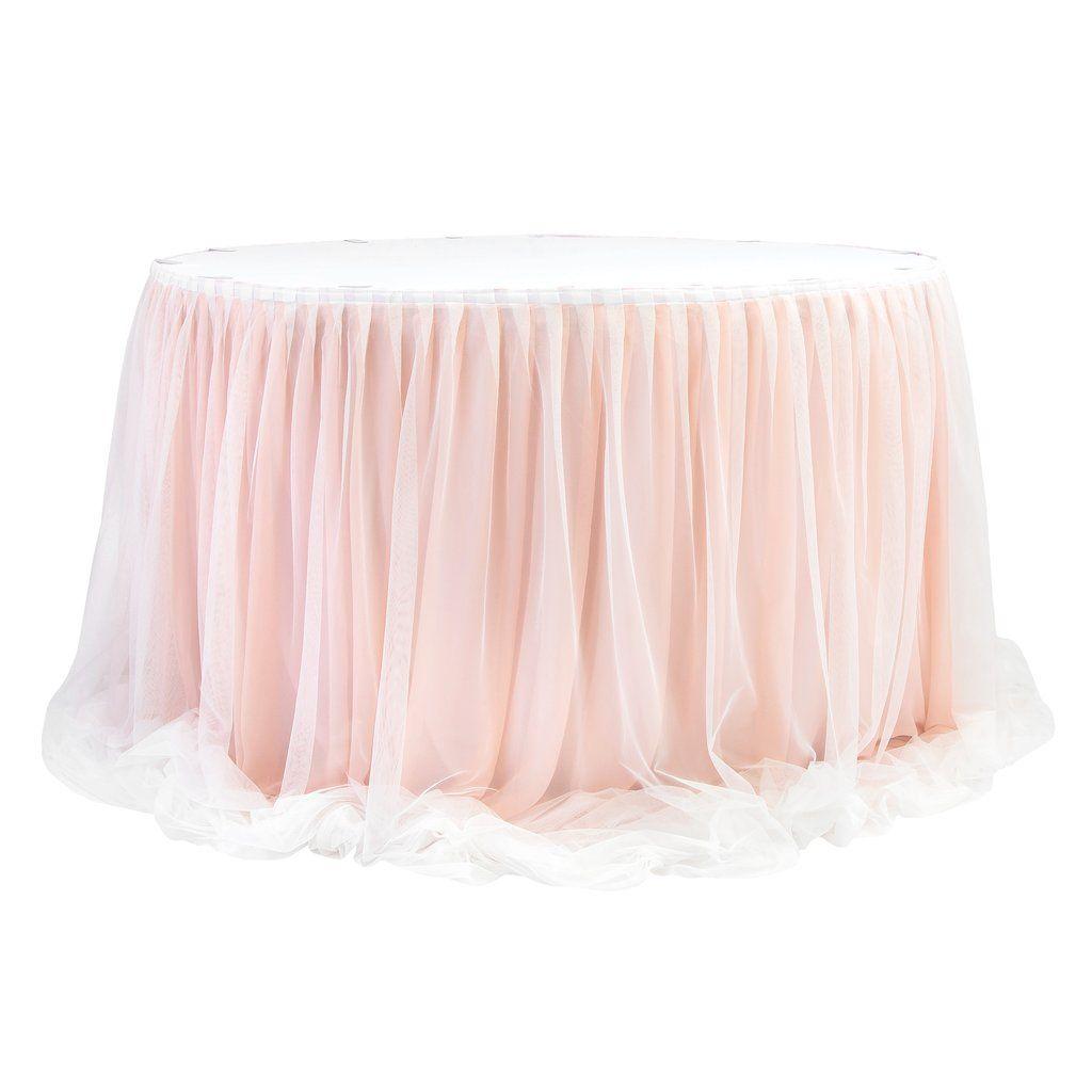 "Chiffon Tulle Table Skirt Extra Long 57"" x 17ft - Blush/Rose Gold & White"