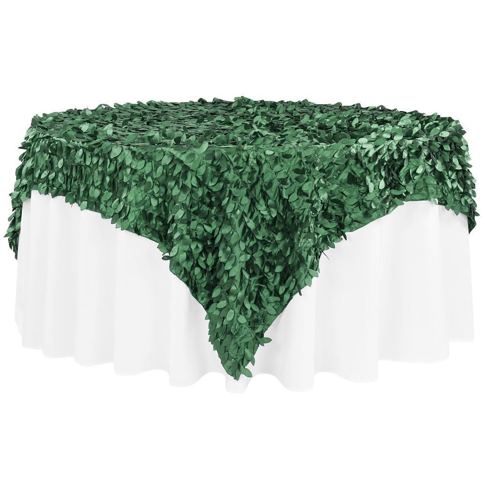 "Leaf Petal Taffeta Table Overlay Topper 90""x90"" Square - Emerald Green"