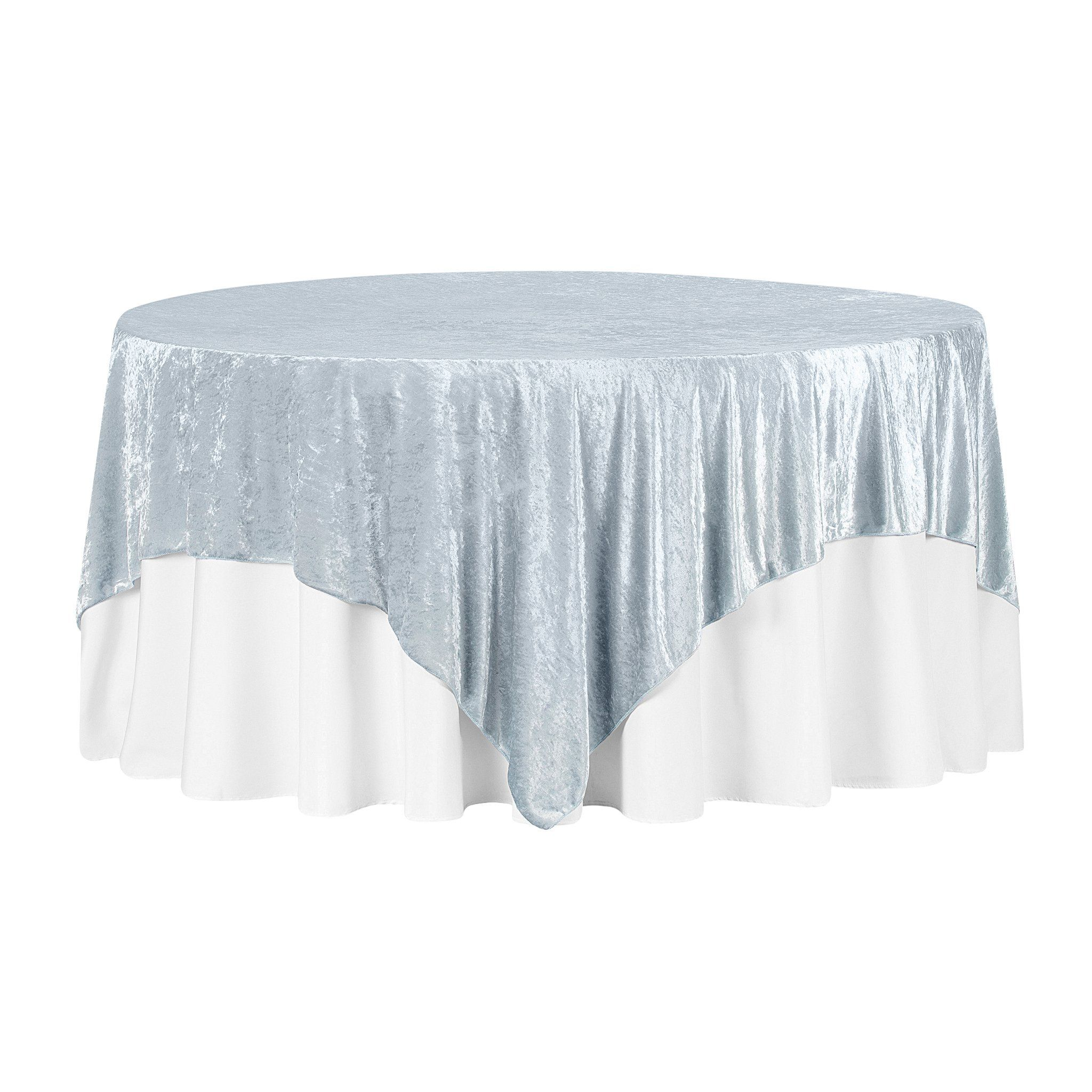 """Velvet 85""""x85"""" Square Tablecloth Table Overlay - Dusty Blue"""
