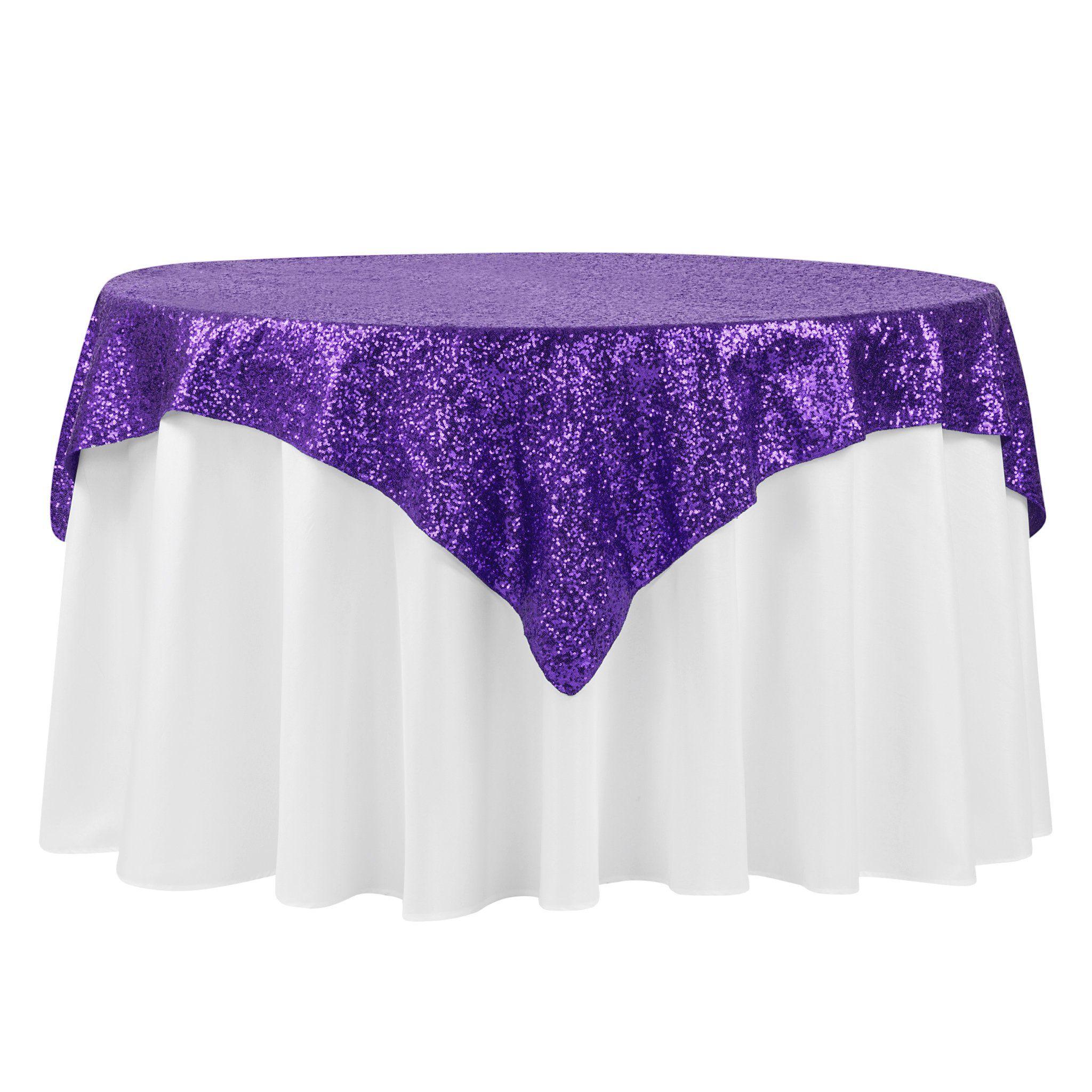"""Glitz Sequin Tablecloth Overlay Topper 54""""x54"""" Square - Purple"""