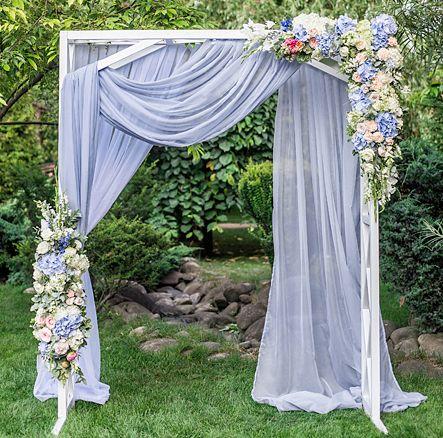 "Sheer Voile 10ft H x 118"" W drape/backdrop - Dusty Blue"