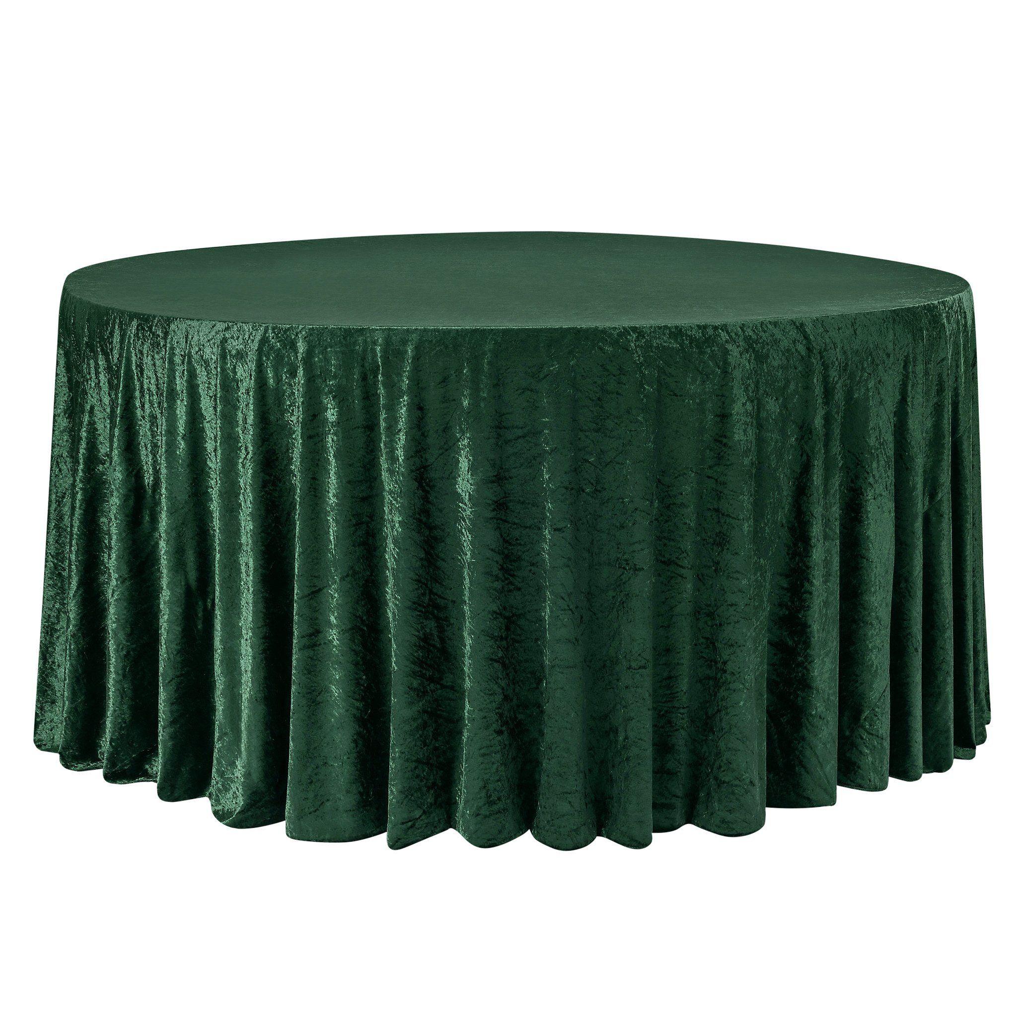 "Velvet 132"" Round Tablecloth - Emerald Green"