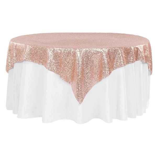 "Glitz Sequin Table Overlay Topper 72""x72"" Square - Blush/Rose Gold"