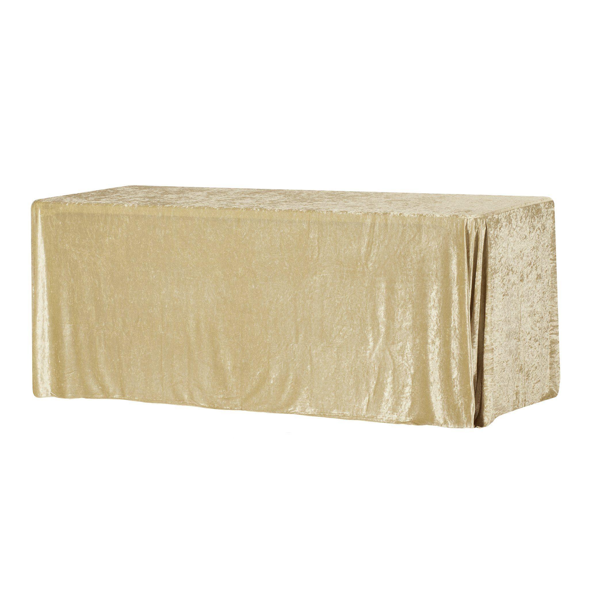 """Velvet 90""""x156"""" Rectangular Tablecloth - Champagne"""