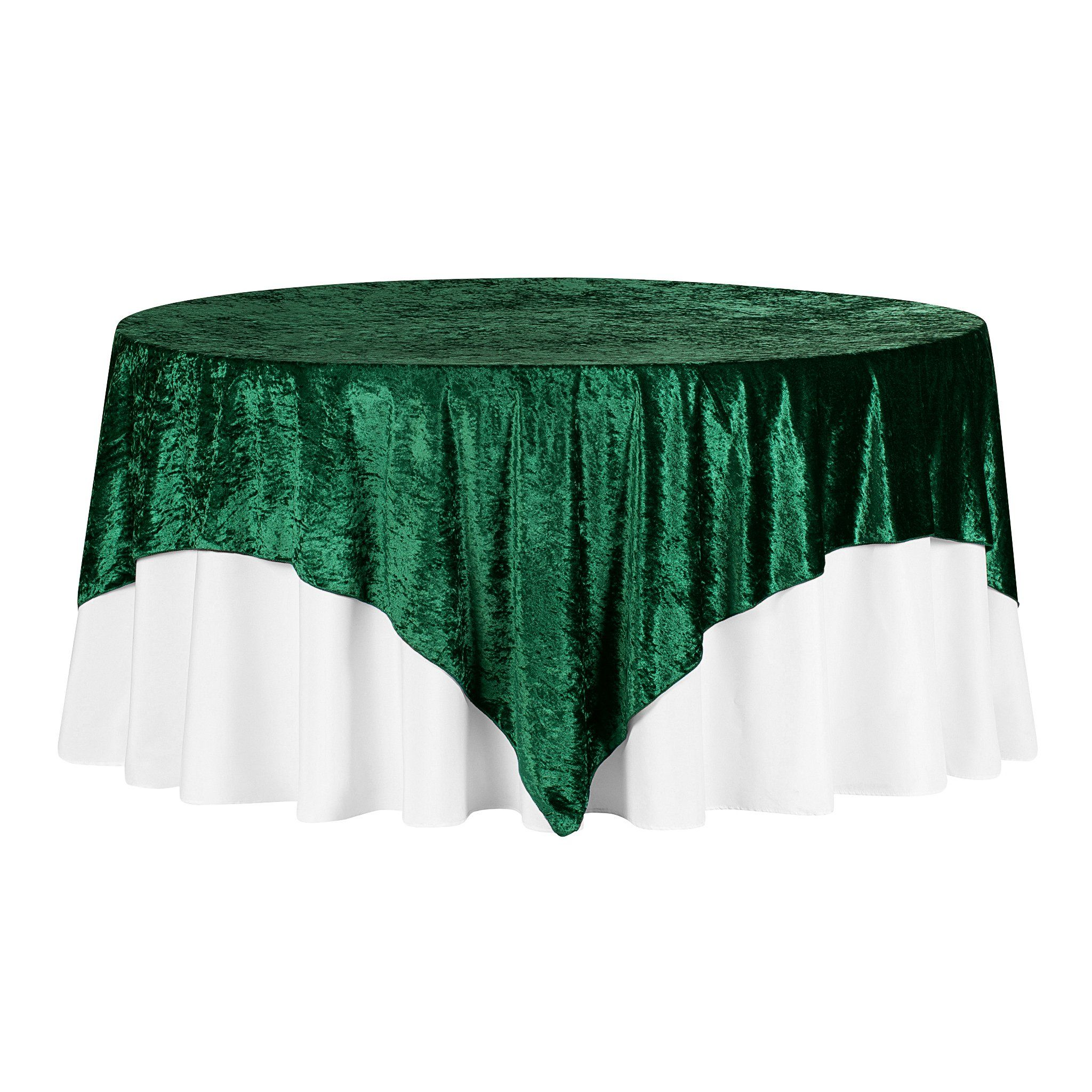 """Velvet 85""""x85"""" Square Tablecloth Table Overlay - Emerald Green"""