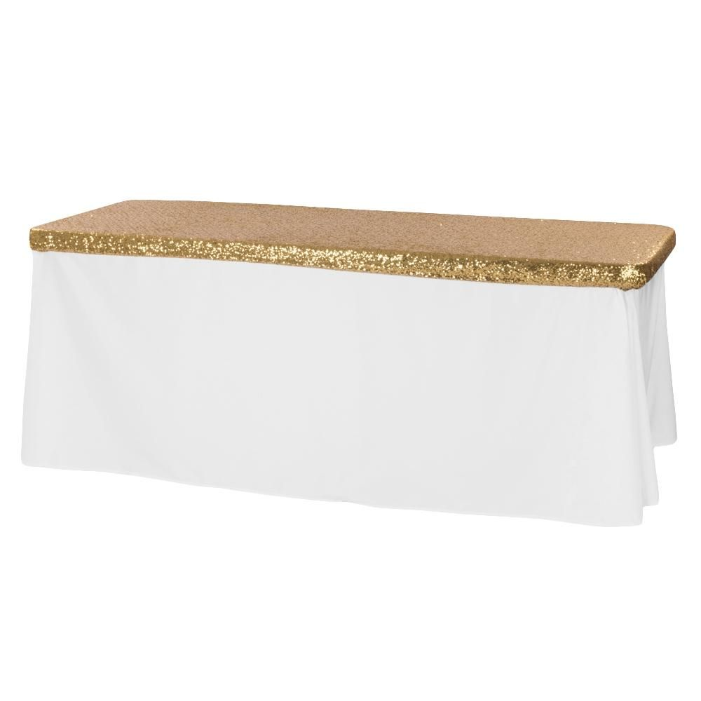Glitz Sequin Table Topper/Cap 6 FT Rectangular - Gold