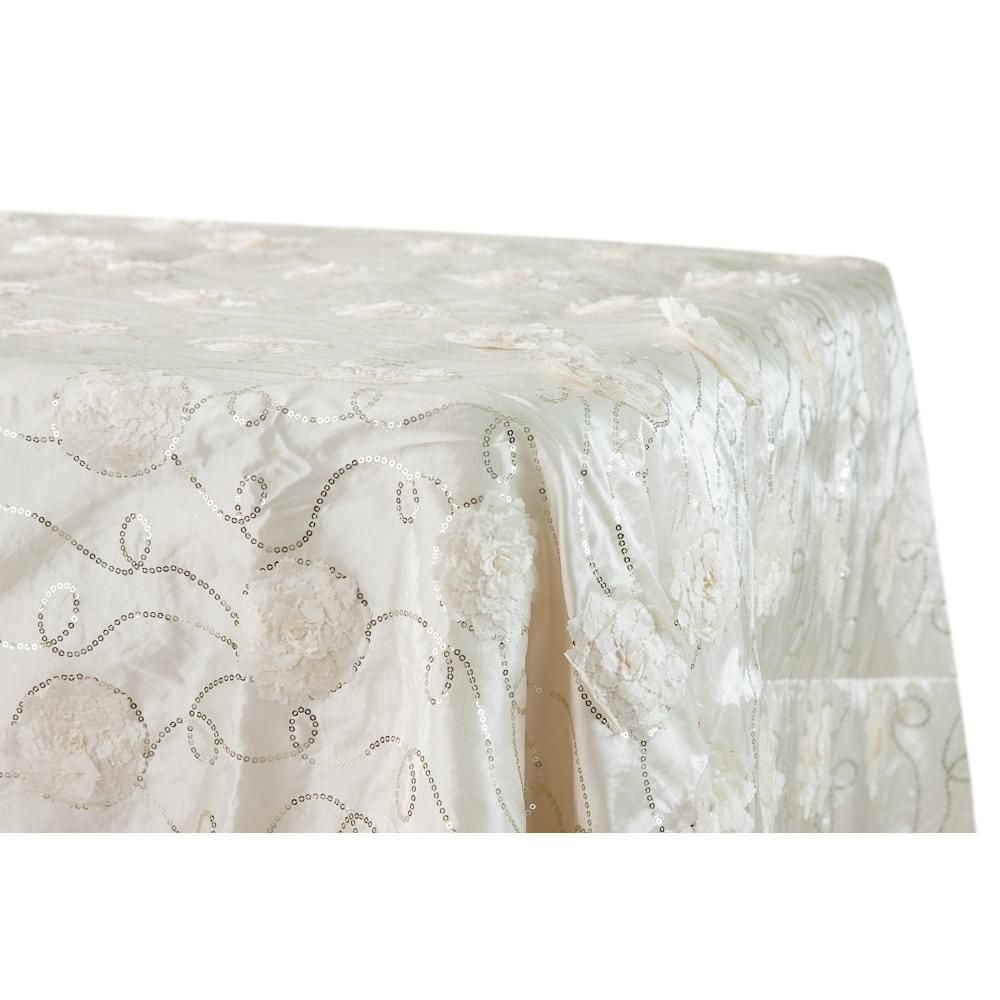 "Flower on Sequin Taffeta Rectangular Tablecloth 90""x132"" - Ivory"