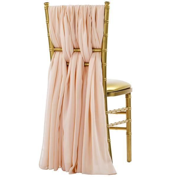 5pcs Pack of Chiffon Chair Sashes/Ties - Blush