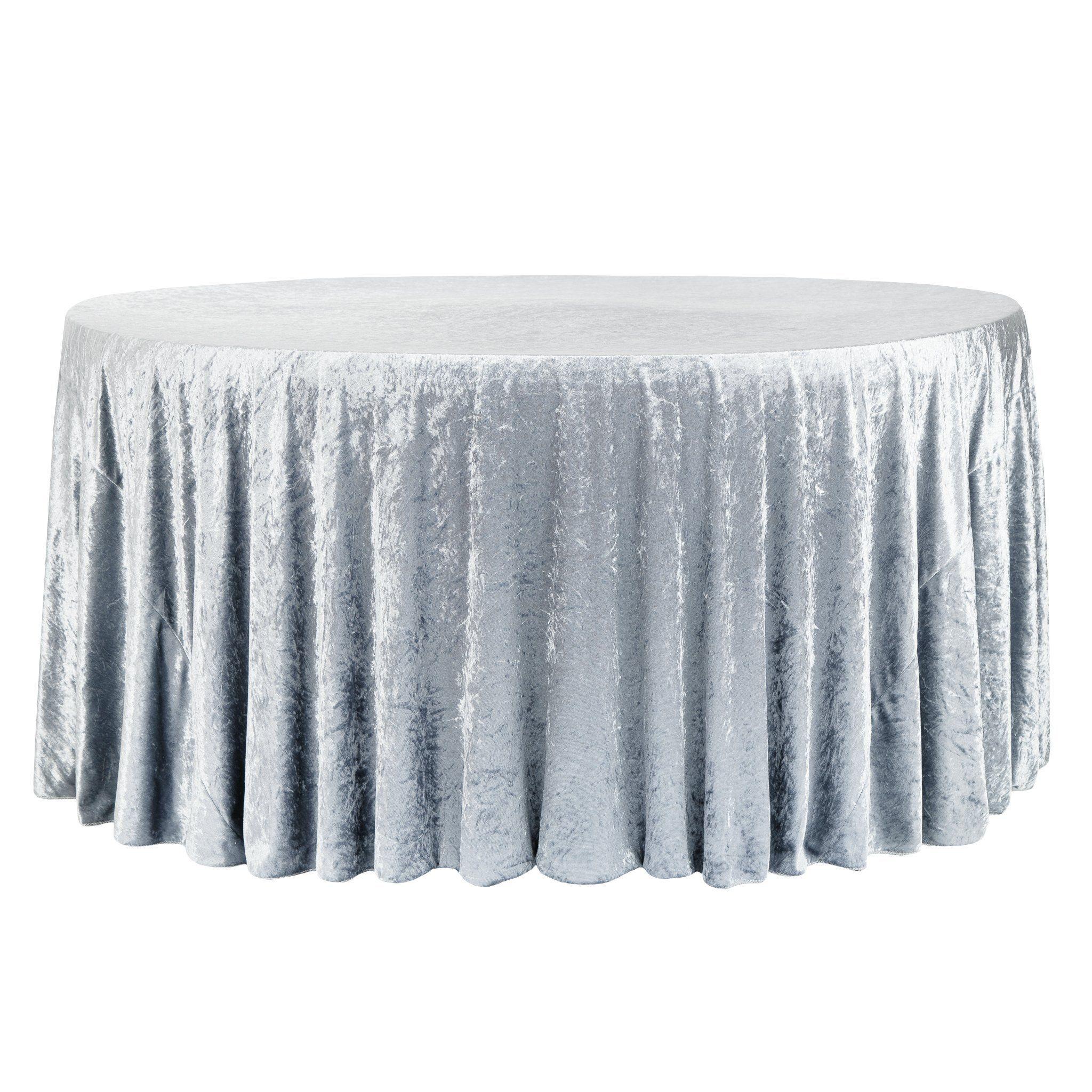 "Velvet 132"" Round Tablecloth - Dusty Blue"